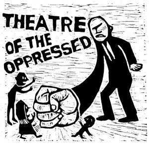 I found this image on the Philadelphia Theatre of Oppressed Page.  http://tophiladelphia.blogspot.com/  The image demonstrate the oppression and power imbalance indigenous and other groups who have their human rights violated by military dictators and governments face.