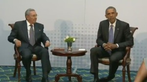 Presiden Obama sits with President Raúl Castro of Cuba. This is the first direct contact between the two nations' presidents in half a century. (AP photo)